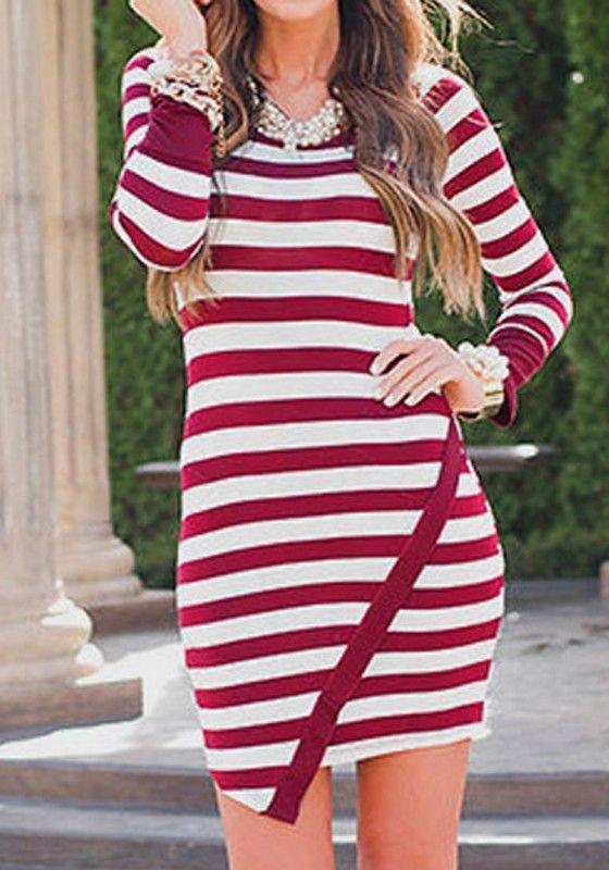 Red Striped Irregular Round Neck Long Sleeve Mini Dress