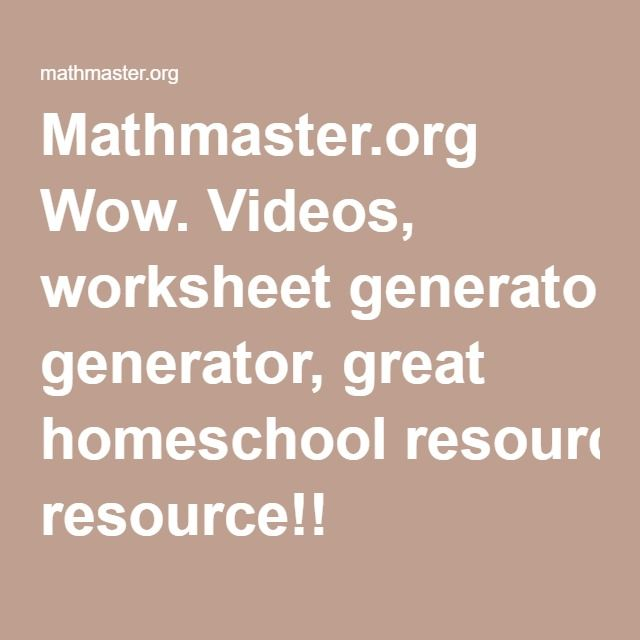 Create Math Worksheets For Free Math Worksheets Worksheets Homeschool Resources