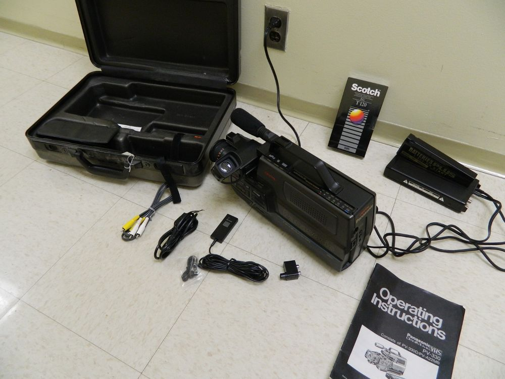Panasonic Omnimovie Vhs Camcorder Tested Bundle Cables Power Supply Case Manual Case Panasonic