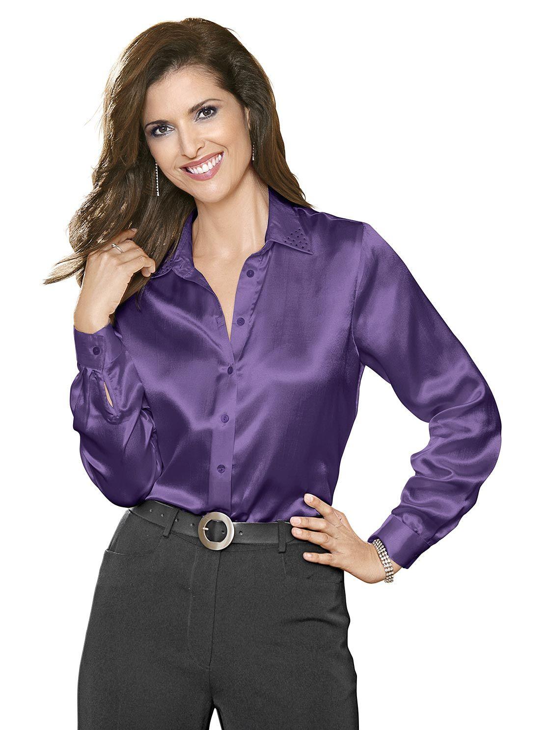 45fe16f9a33d90 Satin-Bluse in lila 29,99 € kaufen bei WITT Weiden – 451.284.010 ...