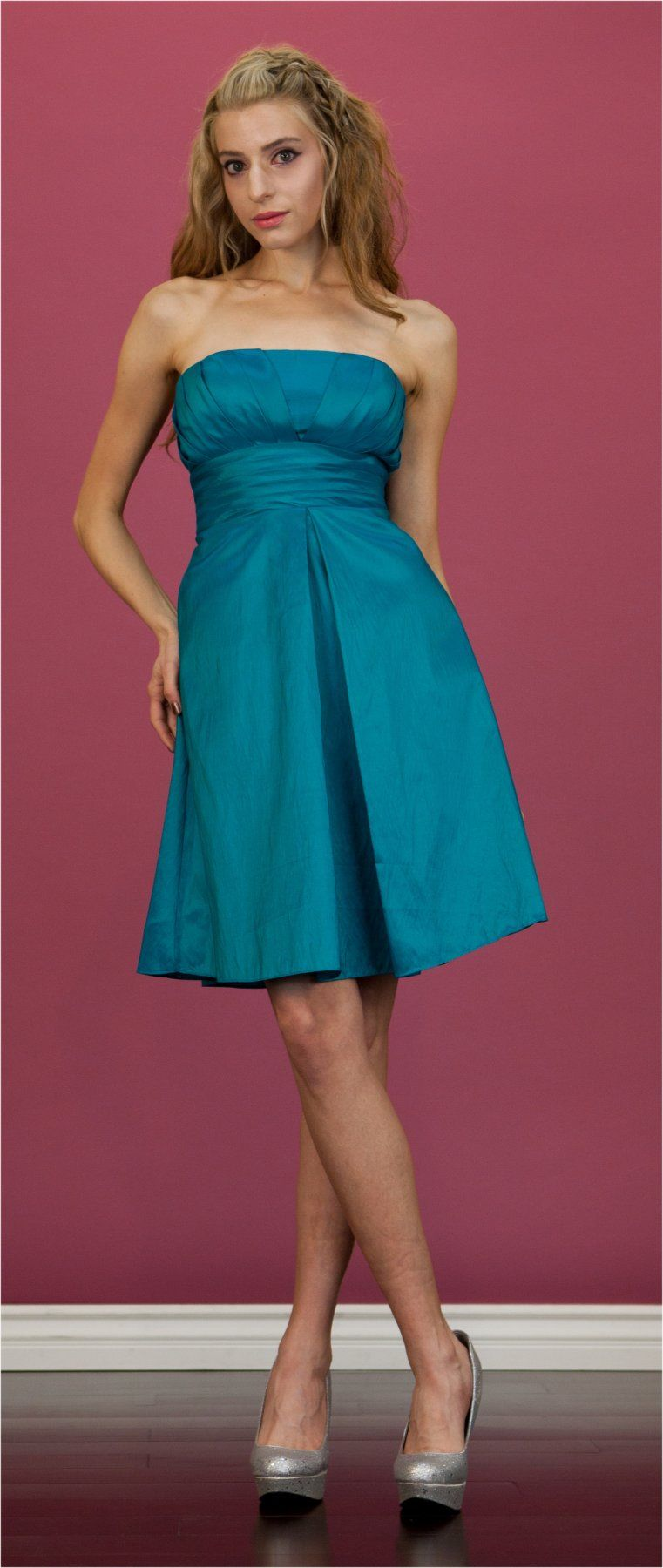 Plus Size Jade Bridesmaid Dress Short Knee Length Strapless Pleated ...