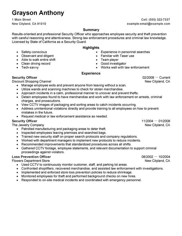 Myperfectresume Com Unforgettable Security Officers Resume Examples To Stand Out 63ba9d82 Resumesample Resumefor Security Resume Resume Examples Job Resume