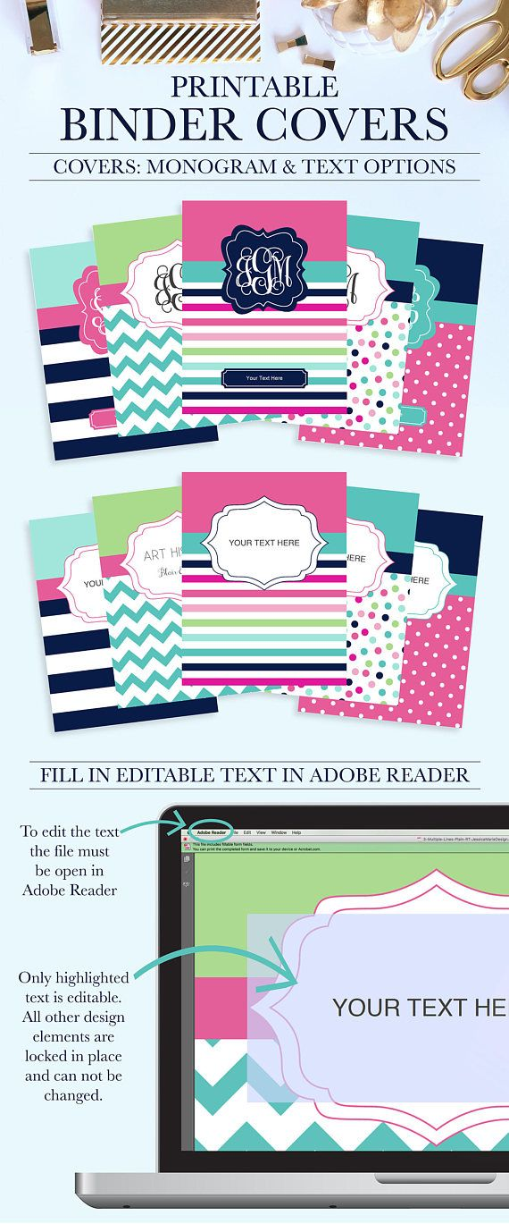 set of 5 printable binder covers for school home or work pop of preppy bc1043 rt why settle for plain binders when you can turn your school binders