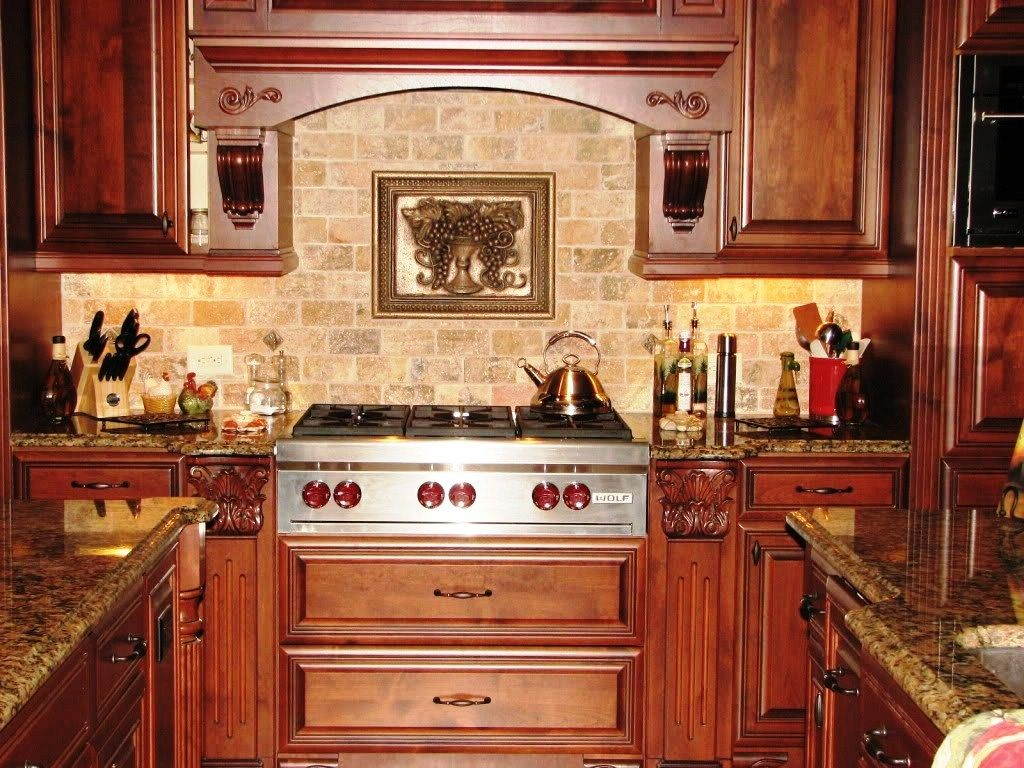 Kitchen Inspiring Shape Decoration Using Dark Brown Granite Counter Tops  Including Rectangular Cream Stone Tile Backsplash Mahogany Wood Cabinets  Kitchen ...
