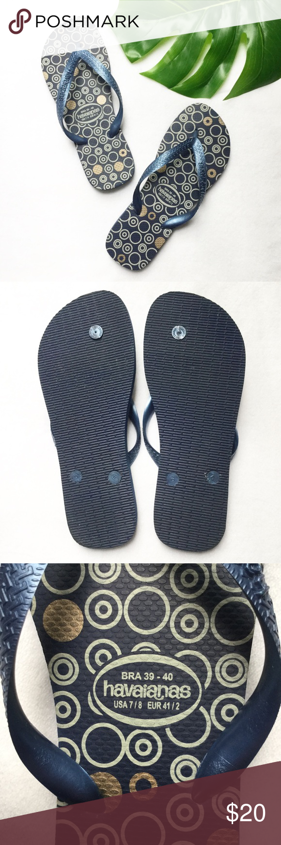 004881ec72bc Havaianas Navy Off White Gold Circle Flip Flops Excellent condition flip  flops with an off white