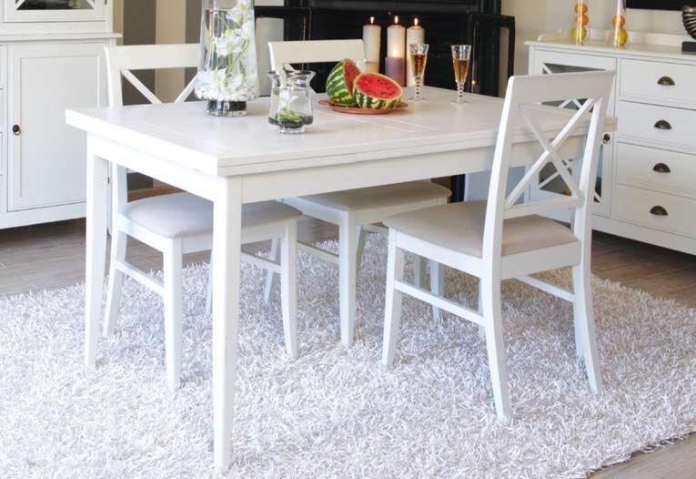 Mesa de comedor extensible eneko white muebles for Mesa comedor lacada blanca extensible