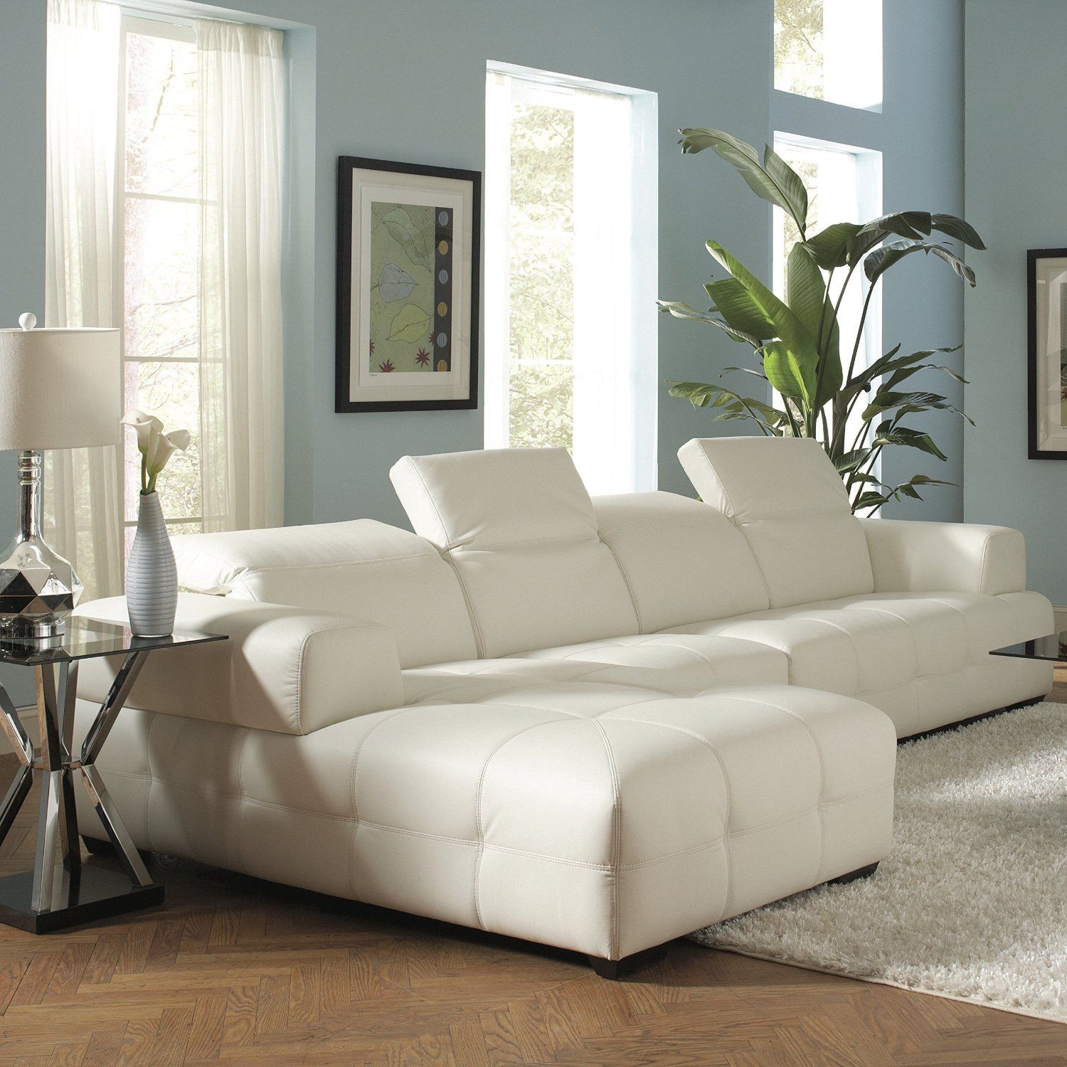 Best Amazon Com Coaster Home Furnishings 503617 Contemporary Sectional Sofa White Con Imágenes 400 x 300