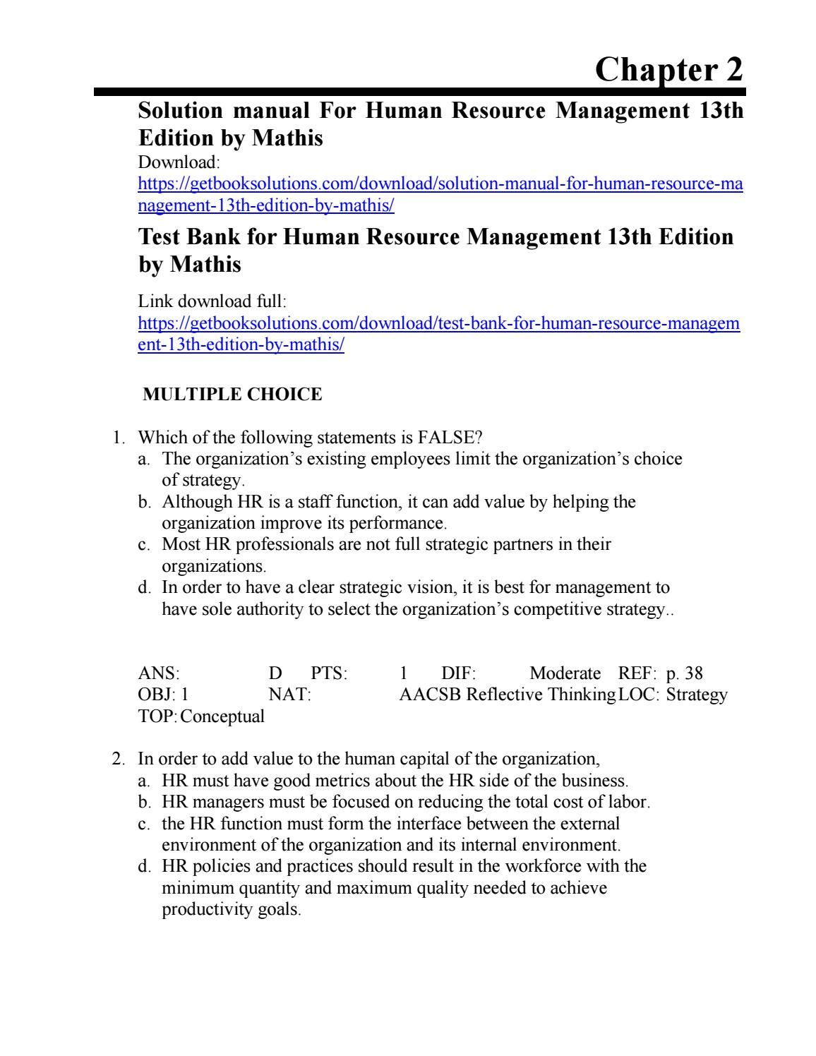 Solution manual for human resource management 13th edition by mathis