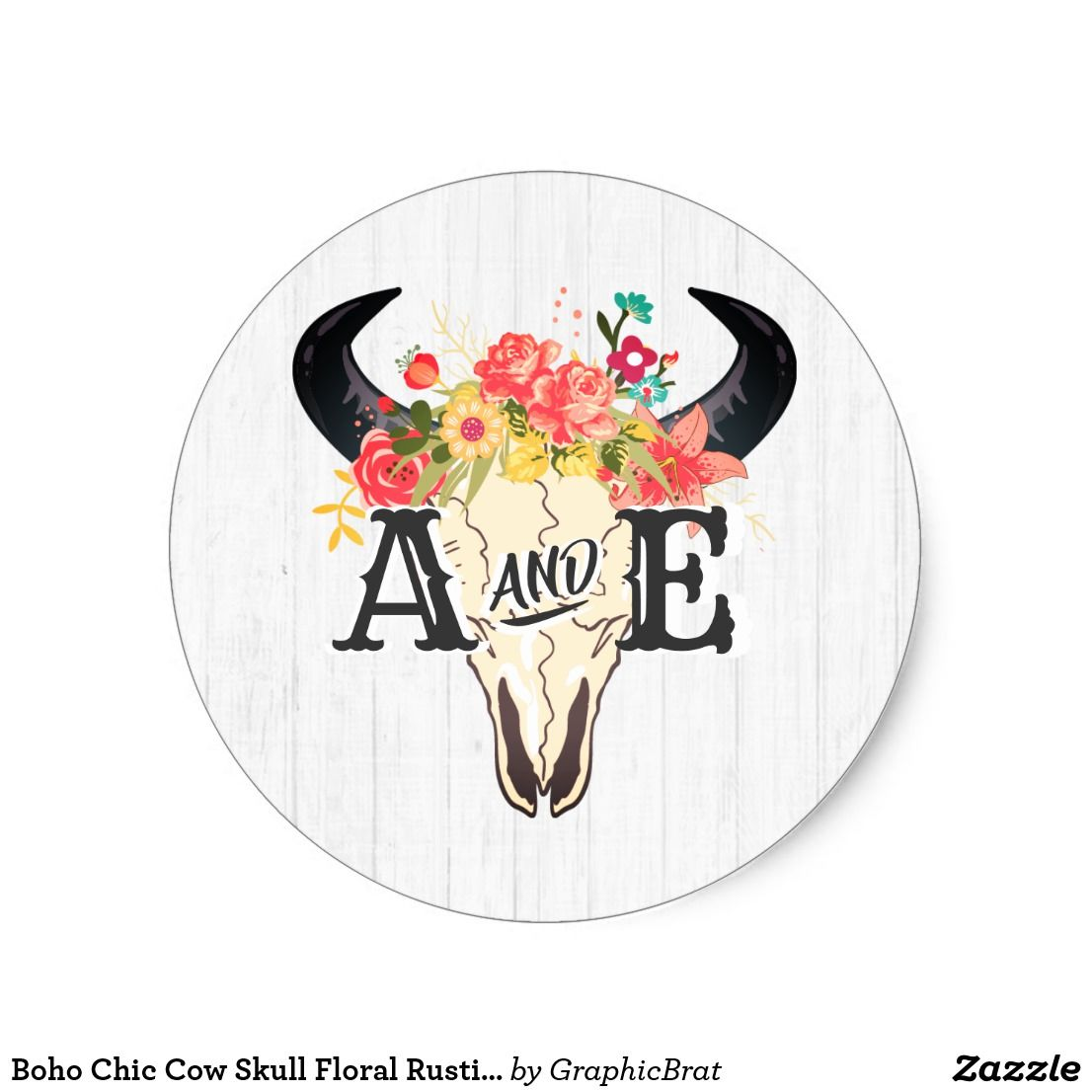 Boho Chic Cow Skull Floral #rustic Monogram #wedding Favor Stickers ...