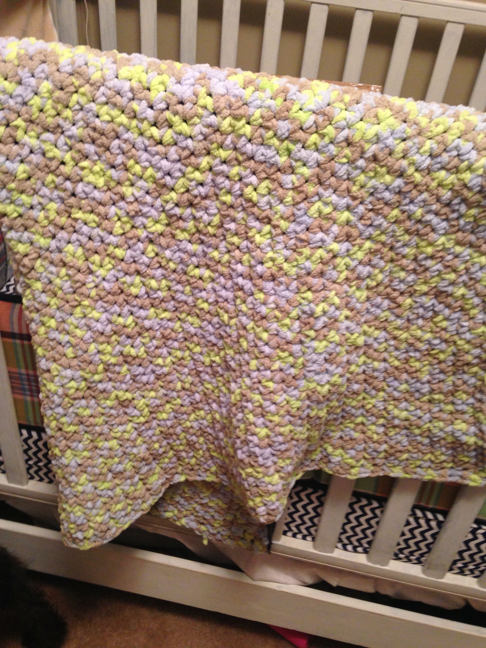 Little boy dove Bernat baby yarn. Single crochet baby blanket.   My ...