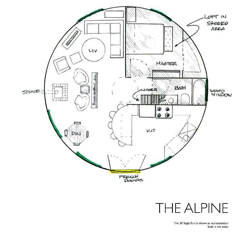 Yurt floor plans a wide variety of floor plans for yurts for Yurt home plans