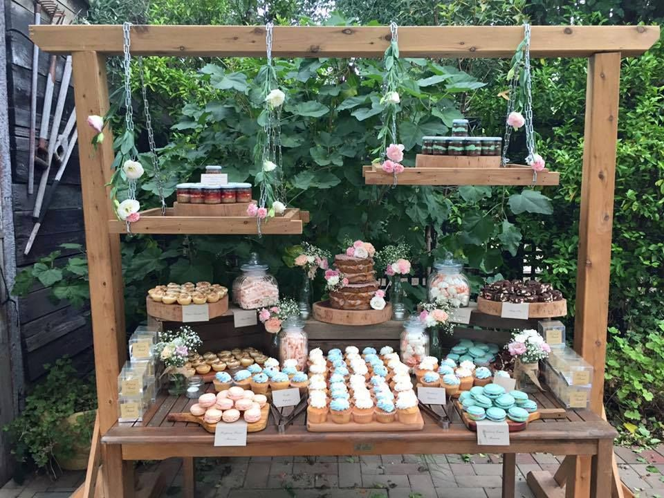 Our wooden arch used for a hanging desert buffet
