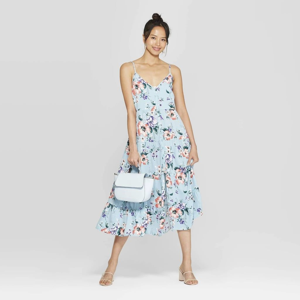 Floral Print Scoop Neck Strappy Button Front Tiered Midi Dress Target Dresses Tiered Midi Dress Target Clothes [ 1024 x 1024 Pixel ]