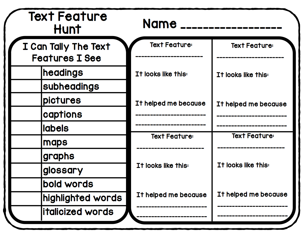 Nonfiction Text Features Worksheet Precommunity