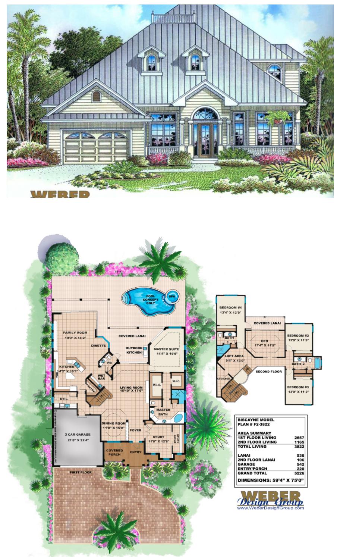 Beach House Plan 2 Story Old Florida Style Beach Home Floor Plan Beach House Plan Beach House Plans House Floor Plans