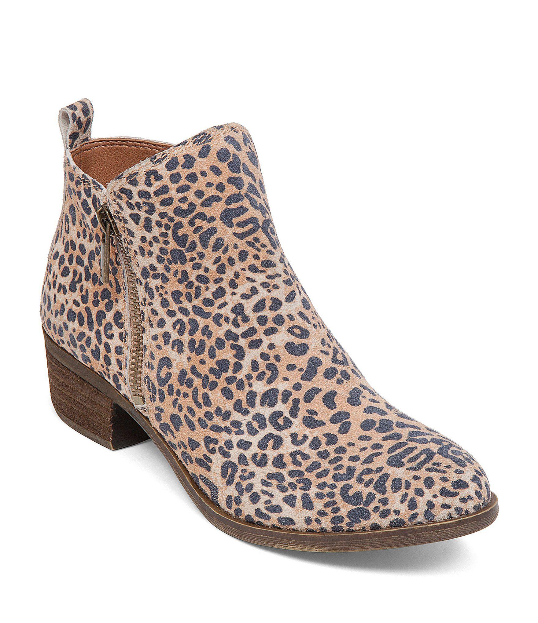 Lucky Brand Basel Leopard Print Suede Zip Block Heel Booties qbk5mbH0