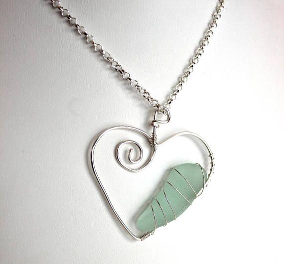 Silver sea glass heart aqua necklace beach glass pendant valentine silver sea glass heart aqua necklace beach glass pendant mozeypictures Image collections