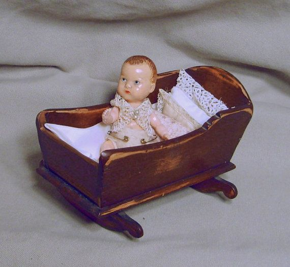 Vintage Wooden Cradle Small Doll Wooden Cradle Baby
