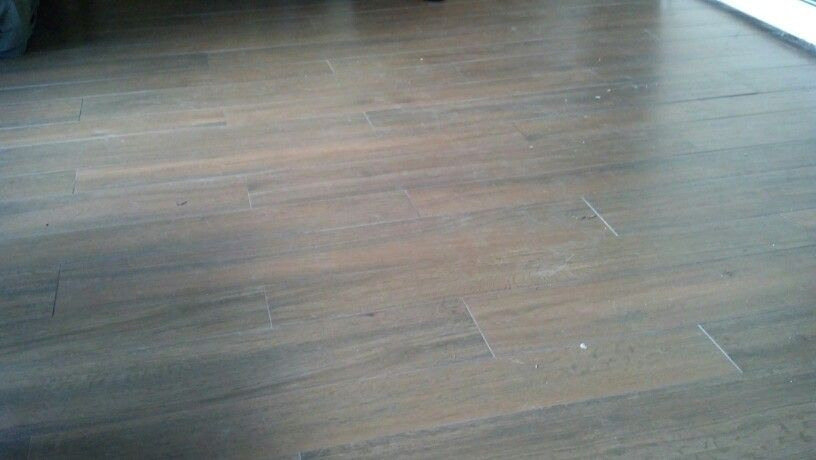 Wood plank tile...we redid our living room and dining room floors (tore up old, pink carpeting).