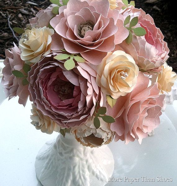 Paper Flower Bouquet - Wedding Bouquet - Shabby Chic - Pink and ...