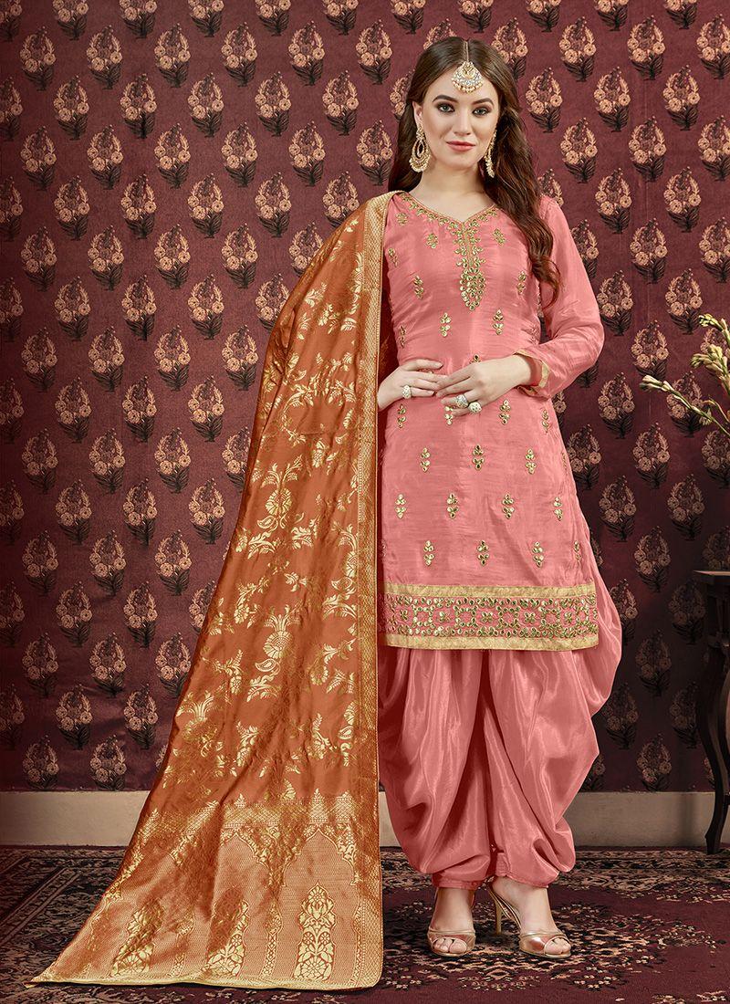 Indian Woman Salwar Kameez Patiyala Suit Pakistani Wedding Wear 100/%Pure Silk Embroidery Work Ethnic Design Punjabi Dress 3 Piece Combo Suit