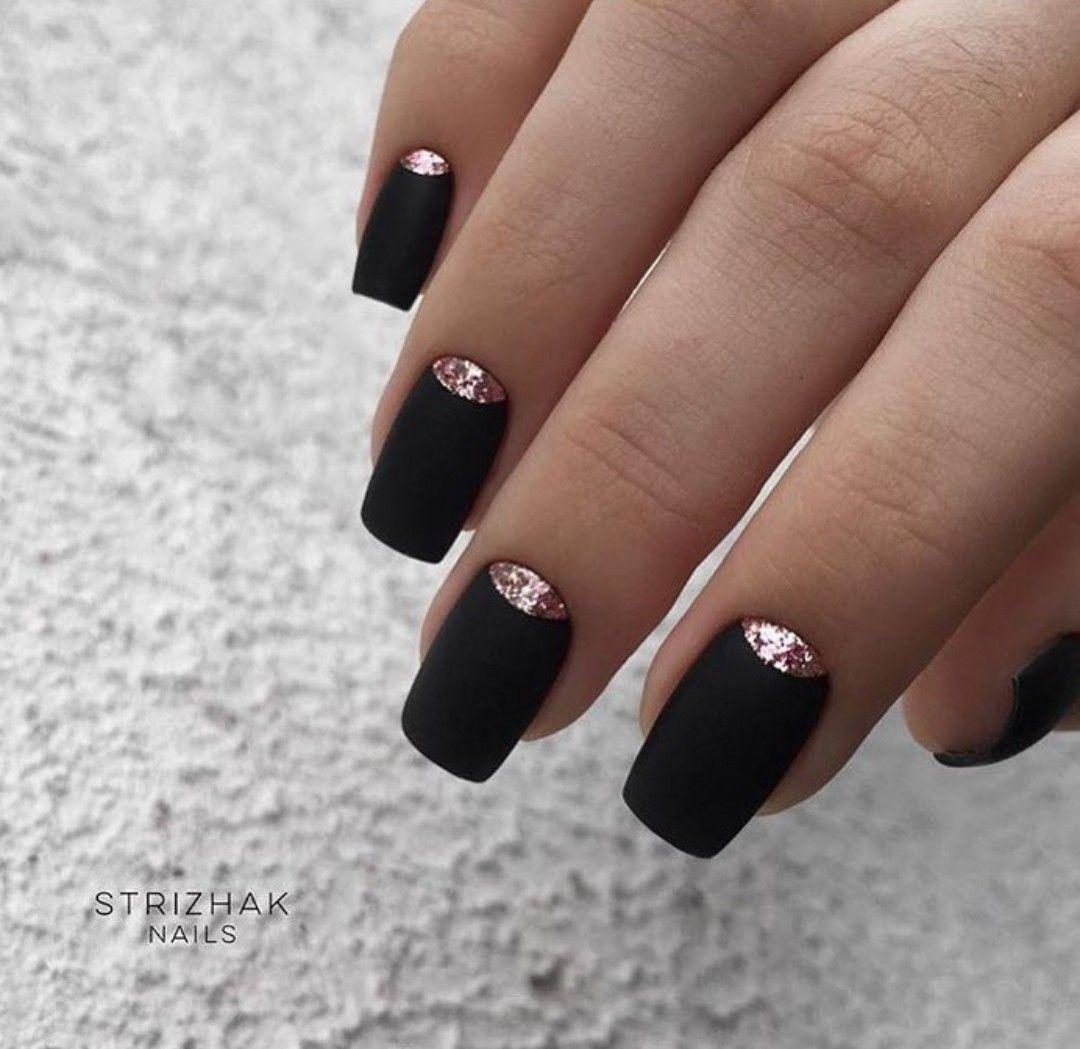 Pin de mi.i en ネイル | Manicura de uñas, Uñas negras, Uñas ...