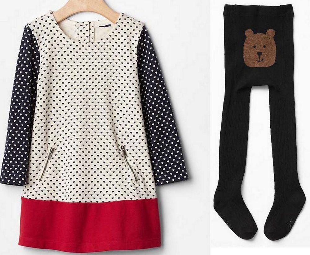 GAP Girl Mini Heart Dress 689042 Cable Tights 693484 Cotton Zip Pocket Multi 4 5 #babyGap #CasualParty #GAP689042 #GAP693484 #GAPdresstightsset #girldresstightshearts