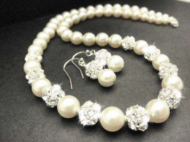 Fireball Bridal Jewelry Set With Pearl Necklace and Earrings with