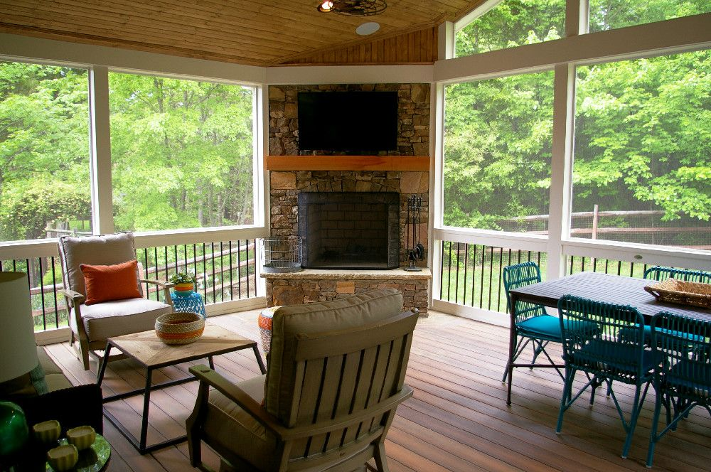 pictures of screened in decks with fireplace | Screen Porch with ...