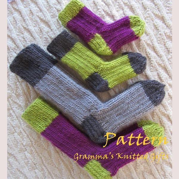 Kids Two-tone Sock Pattern   Pattern, Double pointed ...