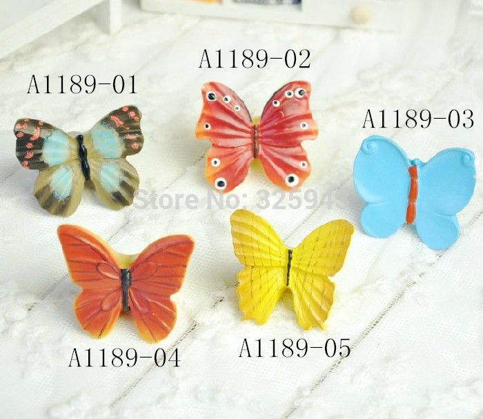 Free Shipping Butterfly Resin Hand Painting Colorful Cartoon Handles ...