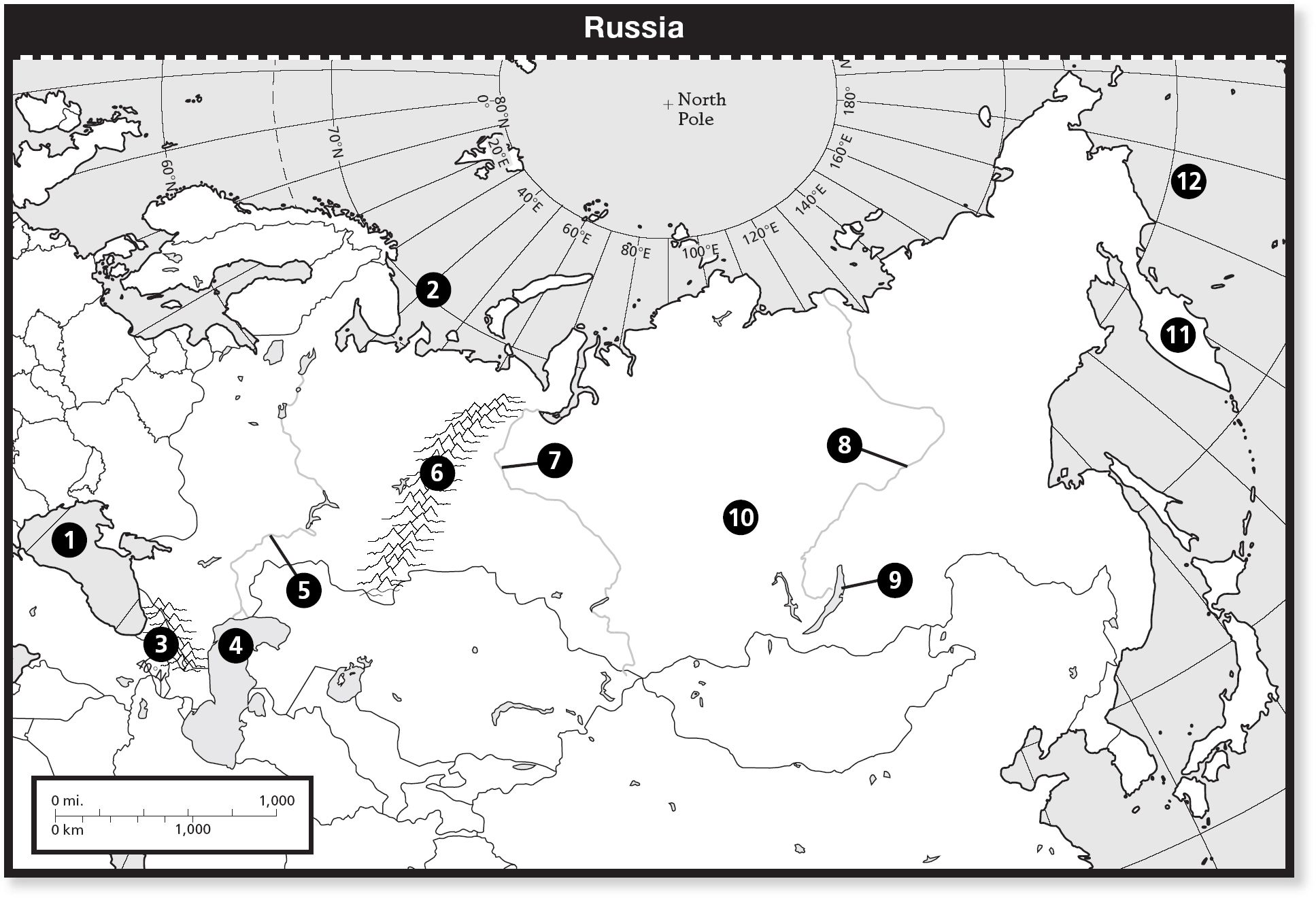 Russia Map Quiz Physical Features