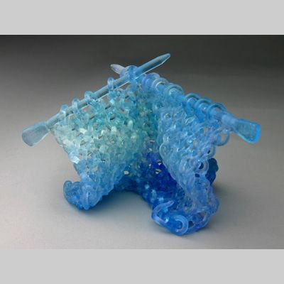 #Knitted #Glass Kiln-Cast lead crystal knitted glass This is my type of art. Glass sculptures.
