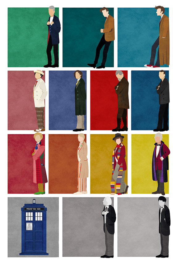 24x36 Doctor Who poster: All 13 Doctors + the War Doctor + the TARDIS