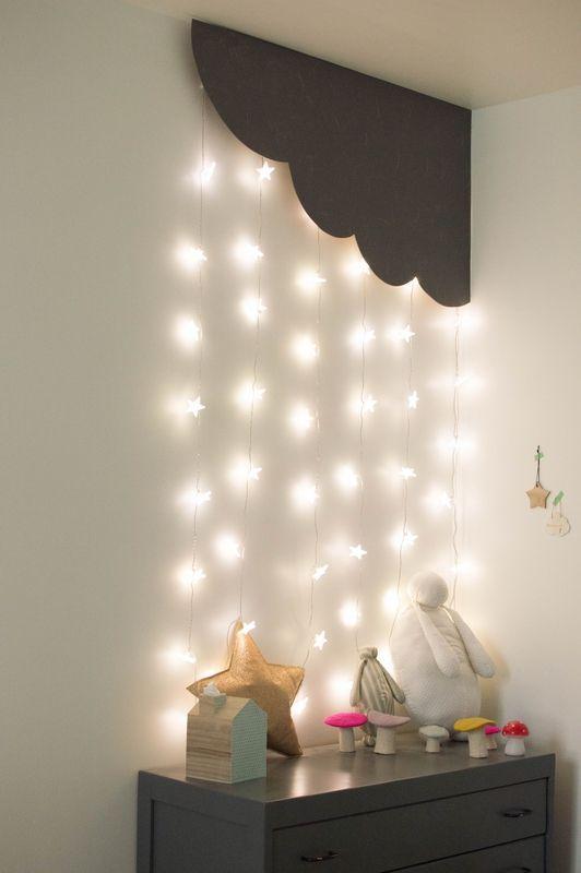 Cozy And Whimsical Corner Of A Kids Room With Star Lights Hanging From The Ceiling Ev Icin Yatak Odasi Renkleri Oglan Cocugu Odalari