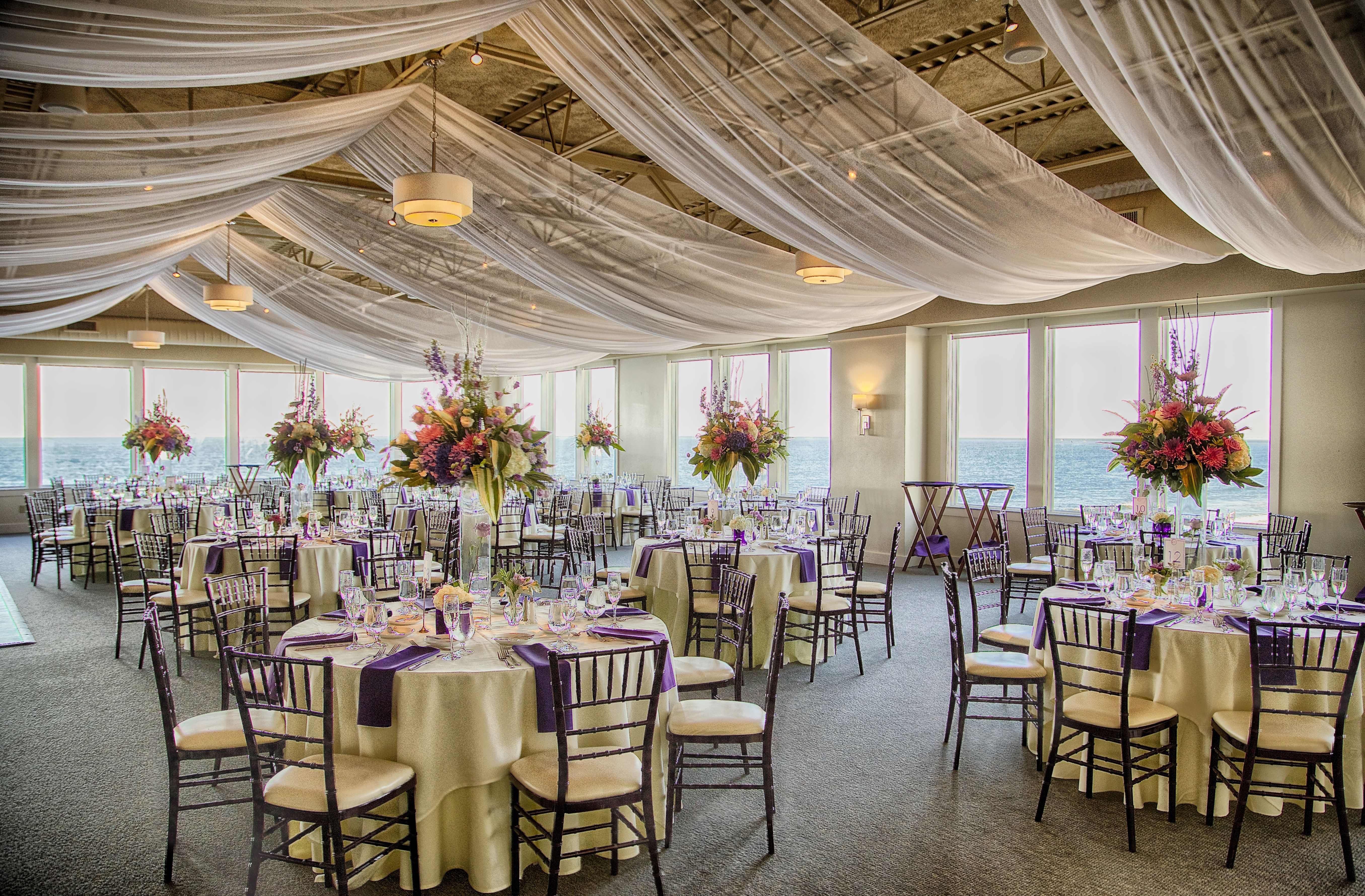 What An Amazing Transformation Of The Atlantic Ballroom For Katie Patrick S Wedding Day Thank You Social Light For The Wedding Drapery Ocean Wedding Wedding