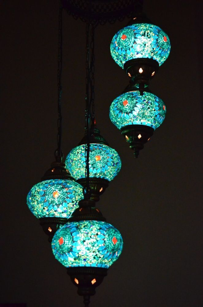 Turkish Handmade 5 Turquoise Globe Moroccan Mosaic Hanging Lamp Light 5ms2925 Hanging Lamp Trans Globe Lighting Traditional Chandelier
