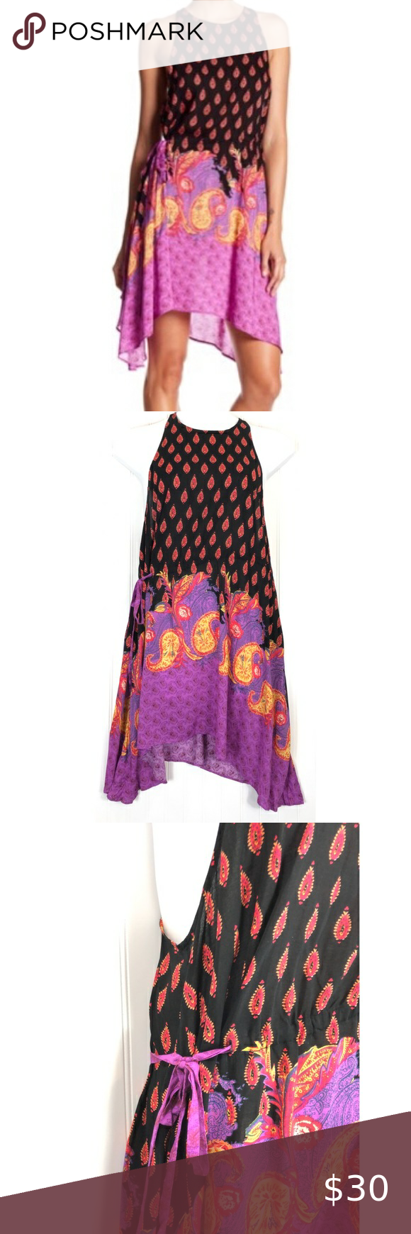 Intimately Free People Rendezvous Tank Dress A0214 Intimately Free People purple back Rendezvous Tank Dress A0214 crew neck, sleeveless, back keyhole with button closure, drawstring waist, asymmetrical Women's Size:  M Approx measurement (measured flat): armpit to armpit - 20 1/2 inches; length - 34 inches Fabric content: 100% rayon Machine washable new with tags - see pictures Free People Dresses