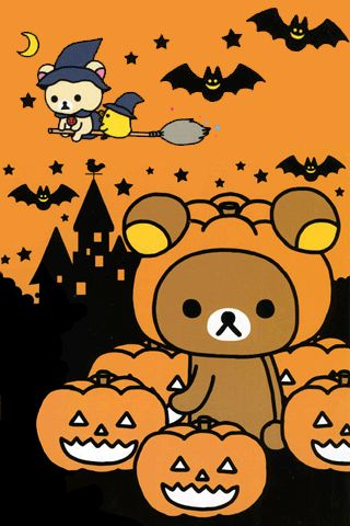 186a310346bfa5edf40c7fb9dfd3348b Jpg 320 480 Rilakkuma Wallpaper Hello Kitty Wallpaper Halloween Wallpaper