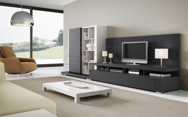 Mueble tv moderno de madera de madera lacada nagare for Muebles estilo moderno minimalista