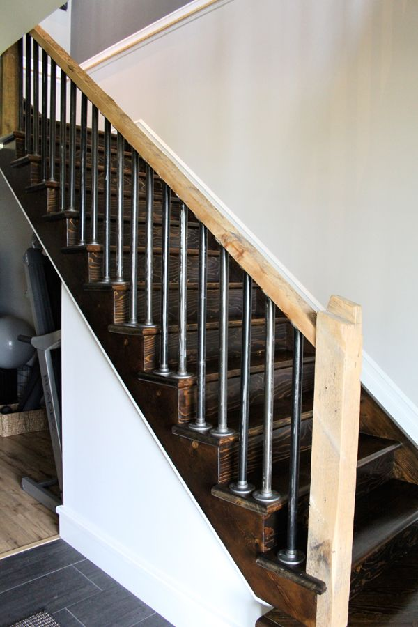 Pin By Molly Boyte On Basement In 2020 Rustic Stairs Rustic   Black Iron Pipe Stair Railing   Staircase Railing   Industrial Style   Deck   Steel Pipe   Reclaimed Wood