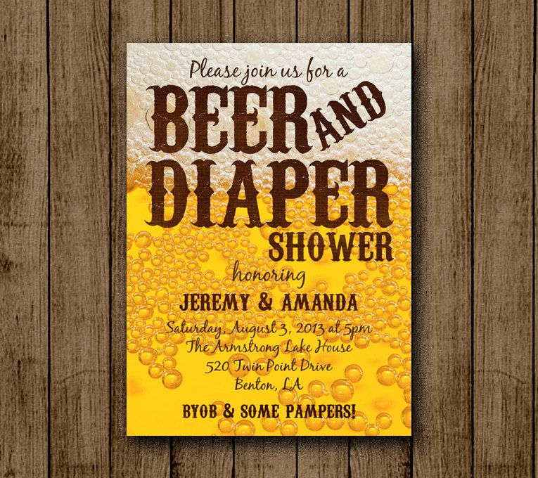 baby shower invitation wording for bringing diapers%0A Beer and Diaper Baby Shower Invitation  Man Baby Shower  Beer  BYOB  Diaper