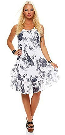 Knielang Kleid Strandkleid Doppellagig Zarmexx Sommerkleid Baumwolle 4jL35RA