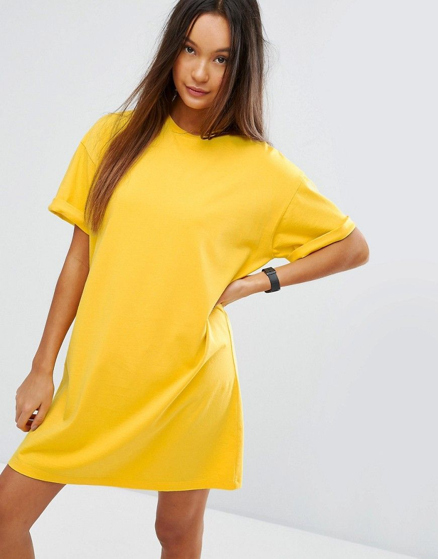 a336ee7597b5 ASOS Ultimate T-Shirt Dress with Rolled Sleeves - Yellow