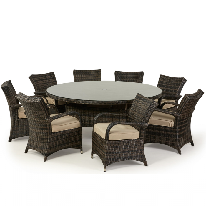 8 Seater Round Garden Dining Table And Chairs Set: 8 Seater Round Cairo Rattan Dining Garden Furniture Set