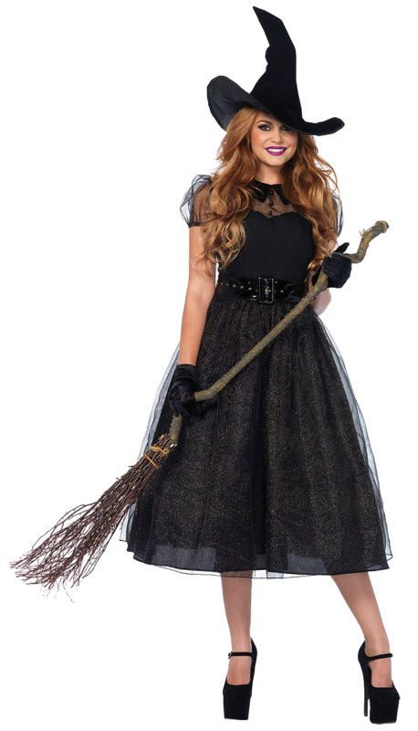 Ladies Wicked Witch Costume Hat Black Traditional Halloween Fancy Dress Womens