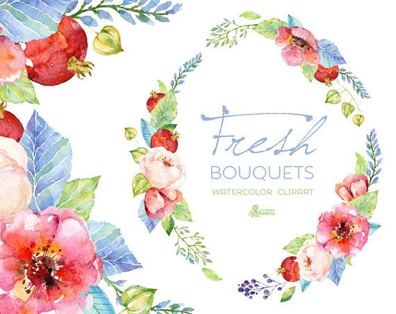 Great Fresh Bouquets U0026 Wreath. Handpainted Watercolor Clipart, Wedding  Invitation, Floral Frame, Greeting