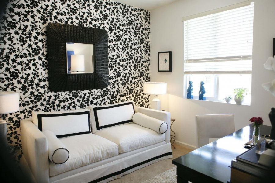 And White Living Room Idea With Cool Wallpaper Listed In ...