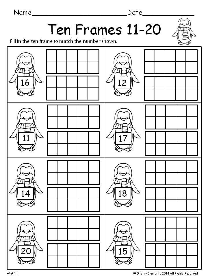 Ten Frames 11 20 Freebie Kindergarten Math First Grade Math Math Activities