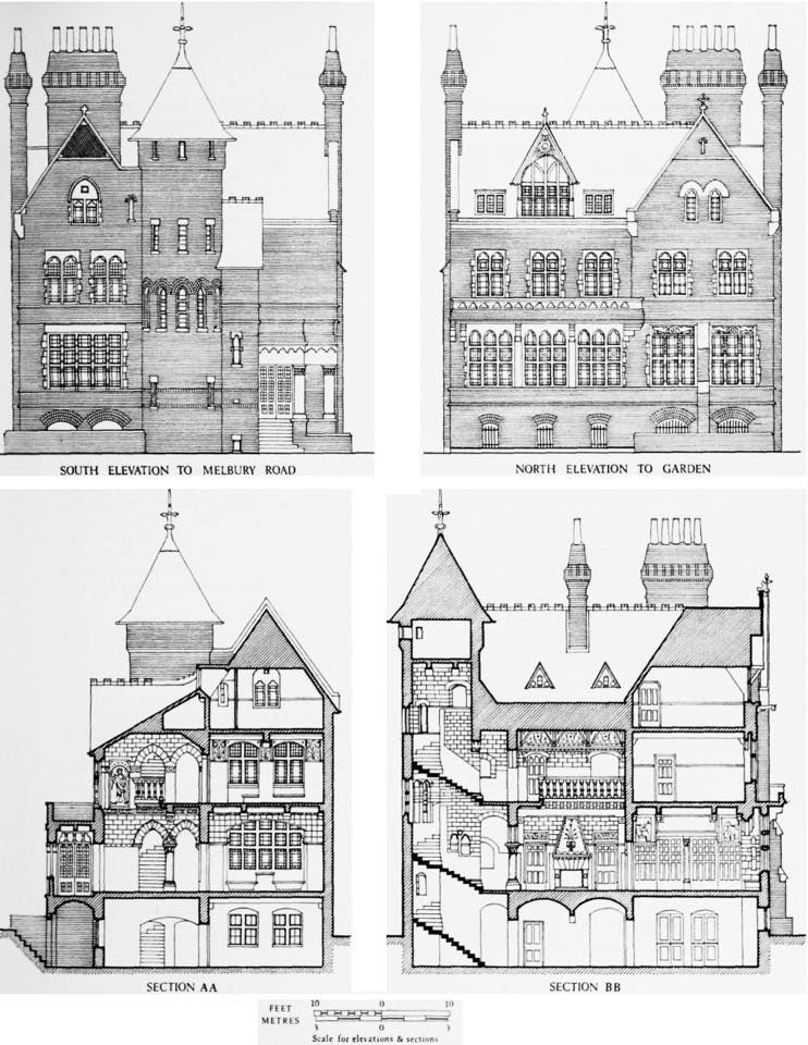 Tower House 29 Melbury Road Kensington London William Burges 1875 1881 Tower House British History Architecture Drawing